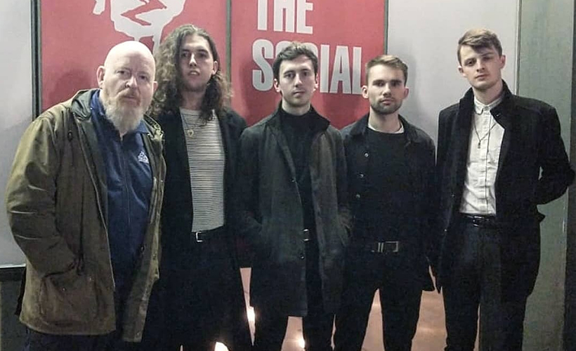 The Clockworks pictured with Alan McGee of Creation23